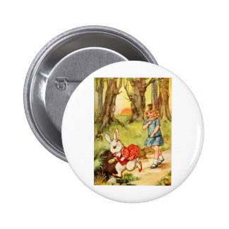 A WHITE RABBIT CAME RACING BY ALICE PINBACK BUTTON
