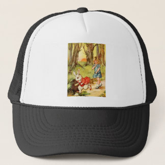 A WHITE RABBIT CAME RACING BY ALICE TRUCKER HAT