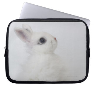 A white rabbit.Jersey Wooly. Computer Sleeve