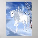 a white unicorn Poster