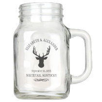 A Whitetail Buck Silhouette | Deer Hunter Wedding Mason Jar