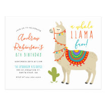 A Whole Llama Fun Animal Birthday Party Invitation Postcard