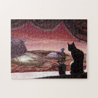 A Whole New World - Sci-Fi - Cat on Mars Jigsaw Puzzle