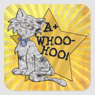 A Whoo-Hoo! Gray Cat, Gold Star, Square Reward Square Stickers
