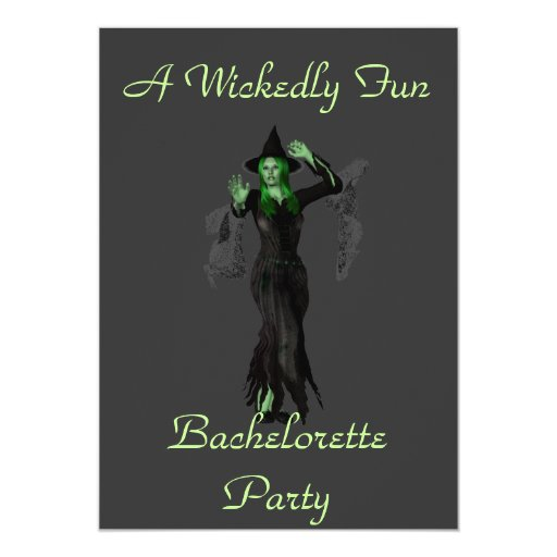 """""""A Wickedly Fun Bachelorette Party"""" w/ Witch 5x7 Paper Invitation Card"""