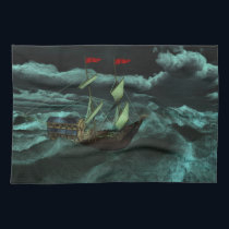 A Wild and Stormy Sea Kitchen Towel