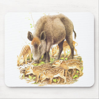 A Wild Boar and Babies Mouse Pad
