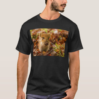 A Wild Boar Piglet Sus Scrofa in the Autumn Leaves T-Shirt