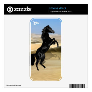 A wild rearing black stallion decals for iPhone 4