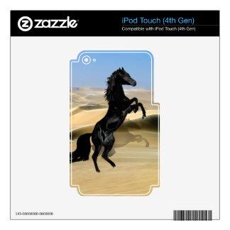 A wild rearing black stallion iPod touch 4G skin