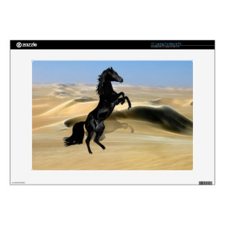 A wild rearing black stallion decal for laptop