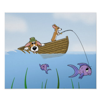 A Wild Ride Corgi Fishing Poster