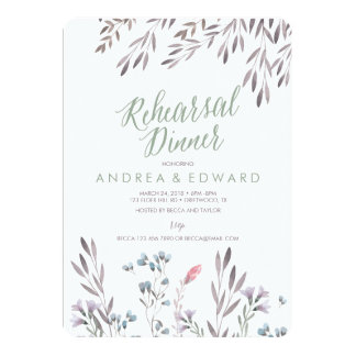 A Wildflower Wedding Rehearsal Dinner Invitation
