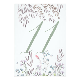 A Wildflower Wedding Table No. 11 Double Sided Card