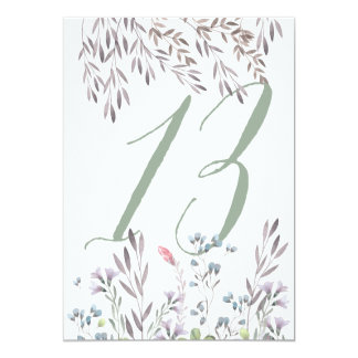 A Wildflower Wedding Table No. 13 Double Sided Card