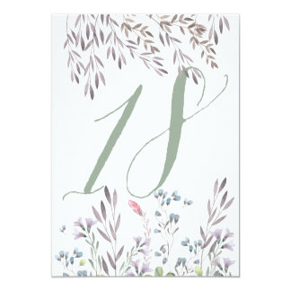 A Wildflower Wedding Table No. 18 Double Sided Card
