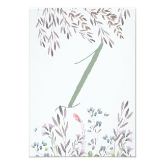 A Wildflower Wedding Table No. 1 Double Sided Card