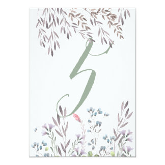 A Wildflower Wedding Table No. 5 Double Sided Card