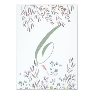 A Wildflower Wedding Table No. 6 Double Sided Card
