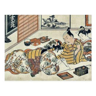 A willing letter writer by Okumura Masanobu Ukiyoe Post Cards