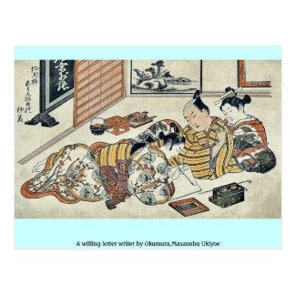 A willing letter writer by Okumura Masanobu Ukiyoe Postcard