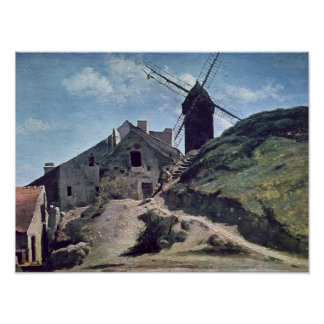 A Windmill at Montmartre, 1840-45 Poster