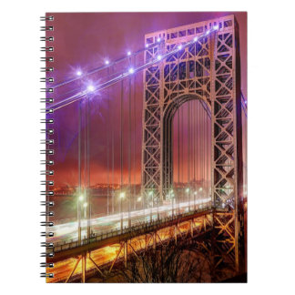 A windy and rainy evening view from Fort Lee Spiral Notebook