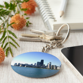 A Windy City Across the Lake Basic Round Button Keychain