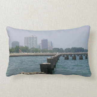 A Windy City Across the Lake Throw Pillow