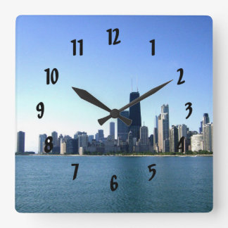 A Windy City Across the Lake Square Wall Clocks