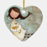 A Wing and A Purr Double-Sided Heart Ceramic Christmas Ornament