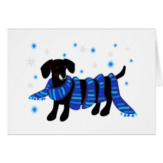 A winter dachshund greeting card