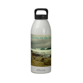 A Winter Day At The Beach Water Bottle