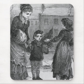 A Winter Day Victorian Christmas Scene Mouse Pad