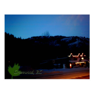 A winter evening in Greenwood, BC Postcard
