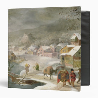 A Winter Landscape with Travellers on a Path 3 Ring Binders