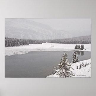 A winter mountain scene n Banff National Park Poster