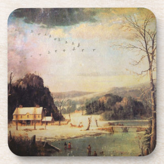 A Winter Scene Beverage Coaster