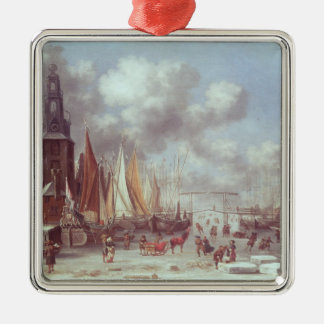 A Winter Scene in Amsterdam Metal Ornament