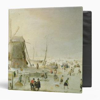 A winter scene with skaters by a windmill vinyl binder