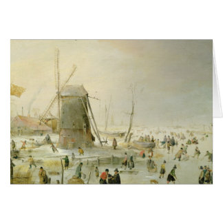A winter scene with skaters by a windmill card