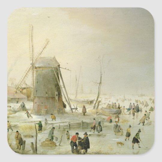 A winter scene with skaters by a windmill square sticker