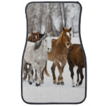 A winter scenic of running horses on The 2 Car Floor Mat