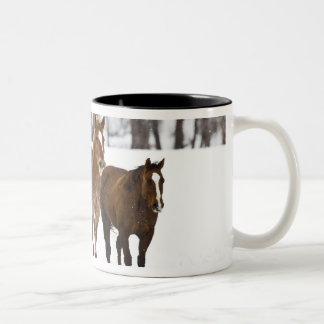 A winter scenic of running horses on The 2 Coffee Mug