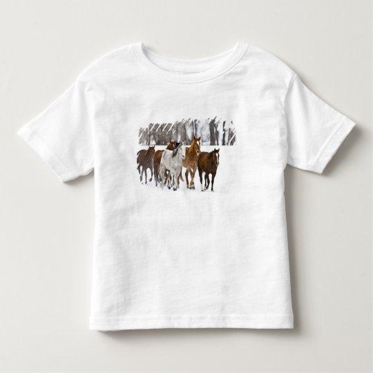 A winter scenic of running horses on The 2 Toddler T-shirt