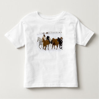 A winter scenic of running horses on The Toddler T-shirt