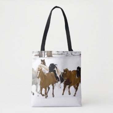 USA Themed A winter scenic of running horses tote bag