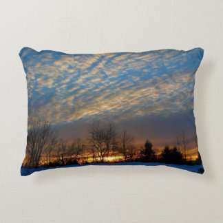 A Winter Sunrise in Searsport, Maine Decorative Pillow