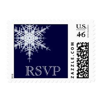 A Winter Wedding RSVP Stamp blue