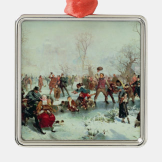 A Winter's Day in St. James's Park Square Metal Christmas Ornament